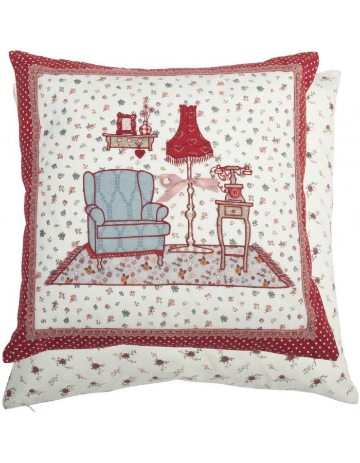 Pillow red VISITING GRANNY unfilled 50x50 cm