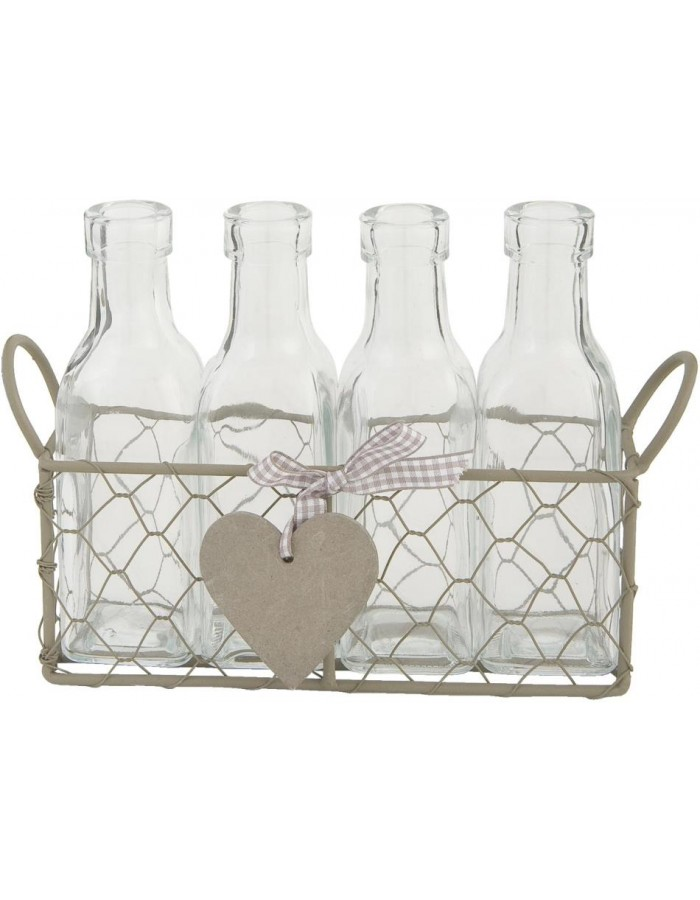 basket with 4 bottles 24x17 cm