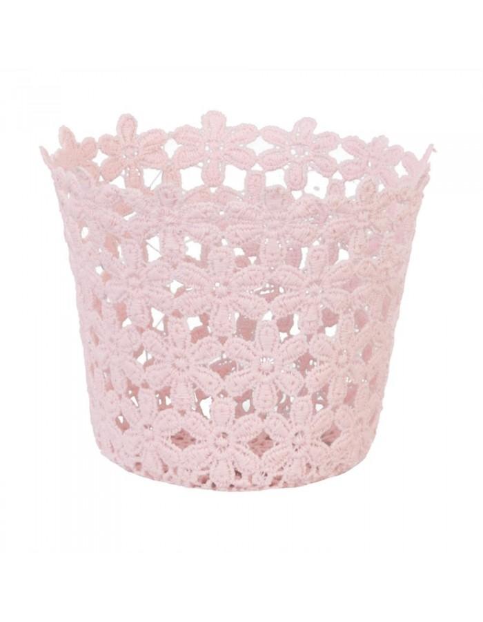 Korb mit Blumendetails Ø 12x10 cm rosa | fotoalben-discount.de
