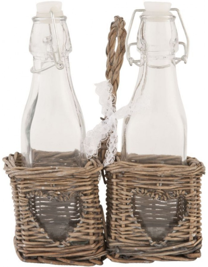 Basket with bottles 15x8x21 cm brown