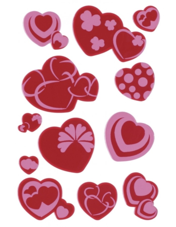 MAGIC decorative labels hearts, neon 1 sheet