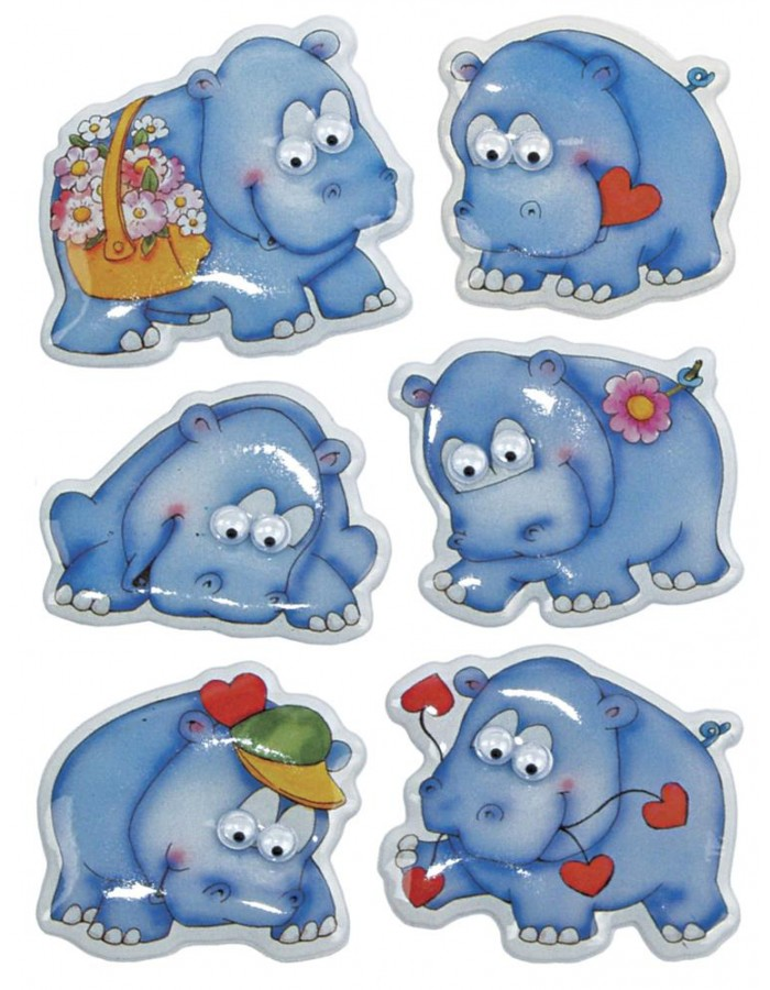 MAGIC decorative labels Hippos with wobbly eyes 1 sheet