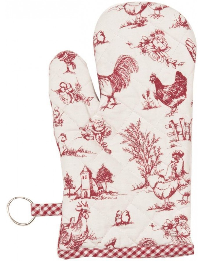 Ofenhandschuh Chicken Family rot 16x30 cm