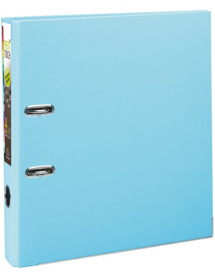 PREM TOUCH folder PP with 2 rings, back 50mm, A4 overwidth Light Blue