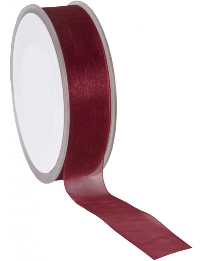Organza Band 50 Meter x25 mm weinrot