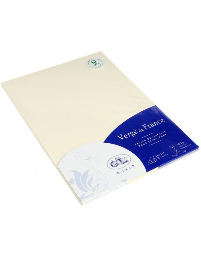 Pack of 50 sheets Vergé paper, A4, 100g ivory