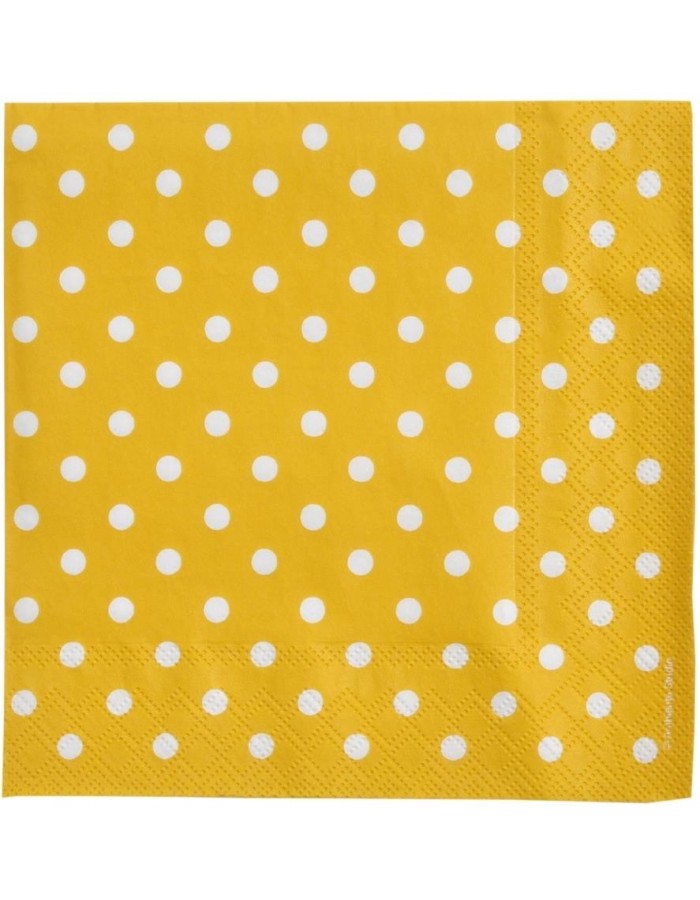 Paper napkins Just Dots yellow 33x33 cm