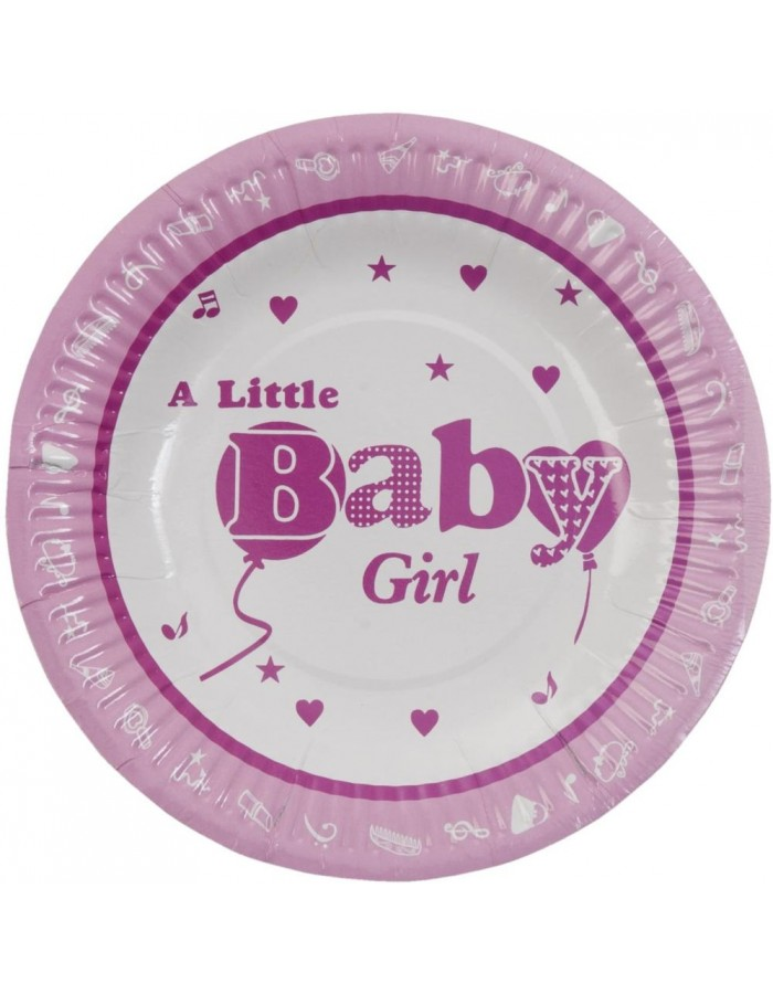 paper plate BABY GIRL Ø 18 cm pink
