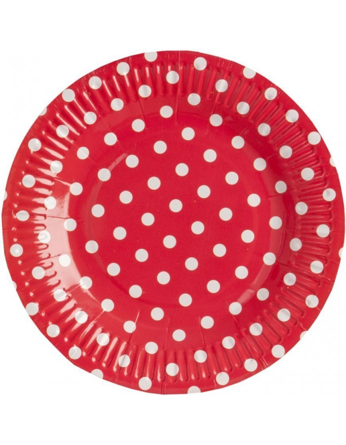 paper plate DOTS  Ø 18,5 cm red