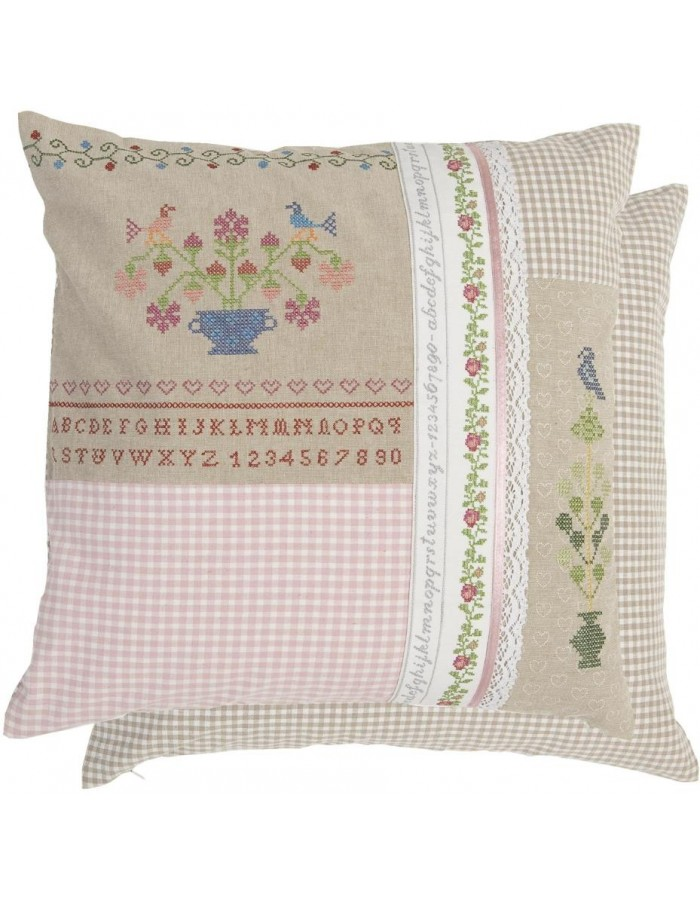 Patchwork Kissen in Stickerei-Optik bunt 50x50 cm