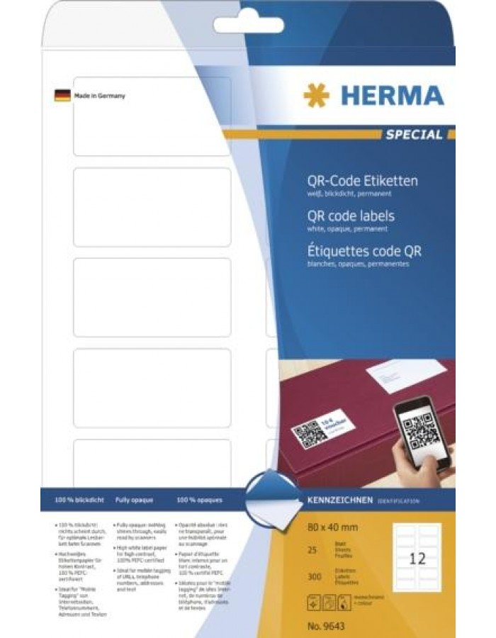 QR code labels A4 80x40 mm white paper matt opaque 300 pcs.