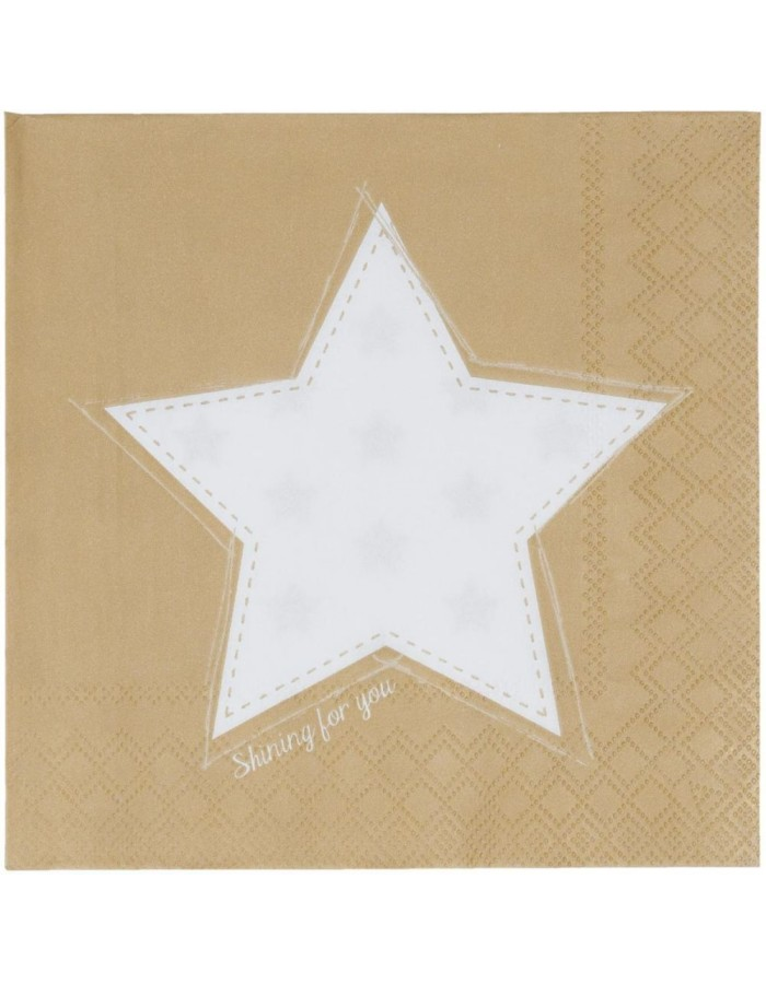 SFY73GO Clayre Eef paper napkins 33x33 cm in gold