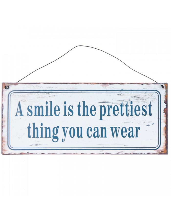 SMILE tin-plate sign 25x11 cm