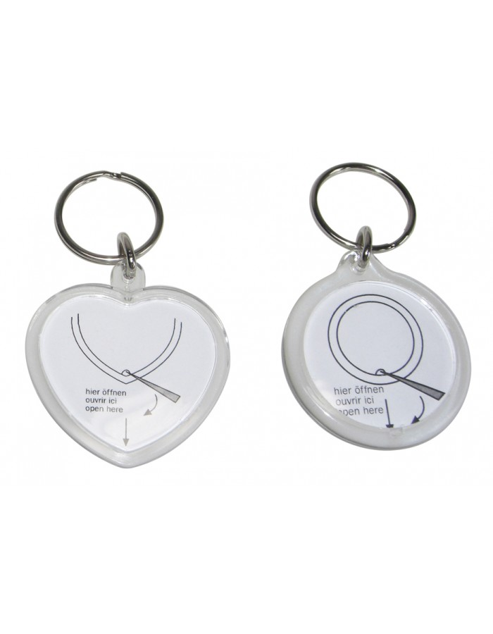 heart-shaped and round key fob for one photo