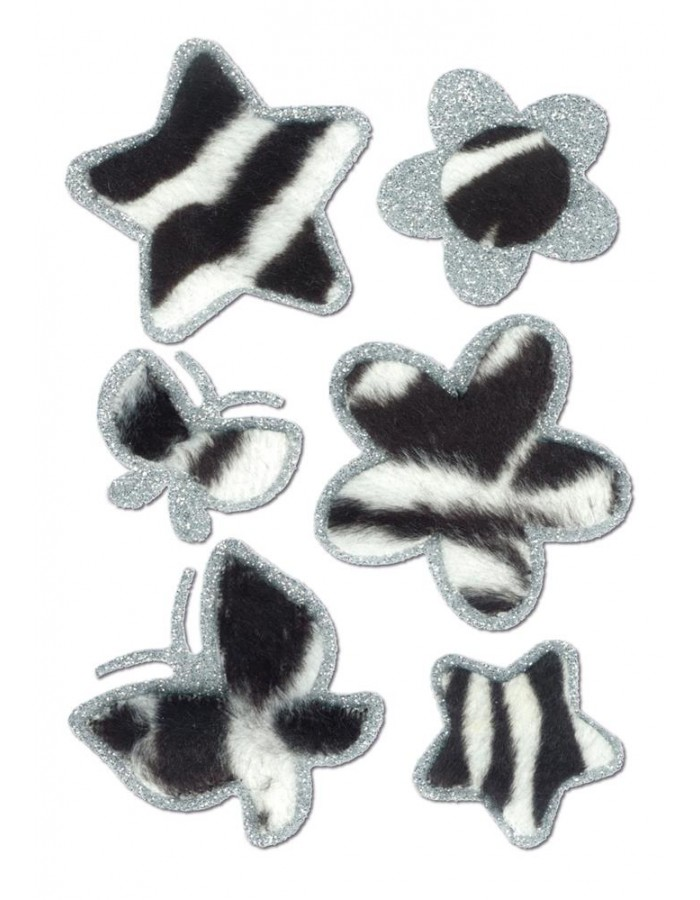 Butterflies, flowers, stars stickers - Zebra-Fleece