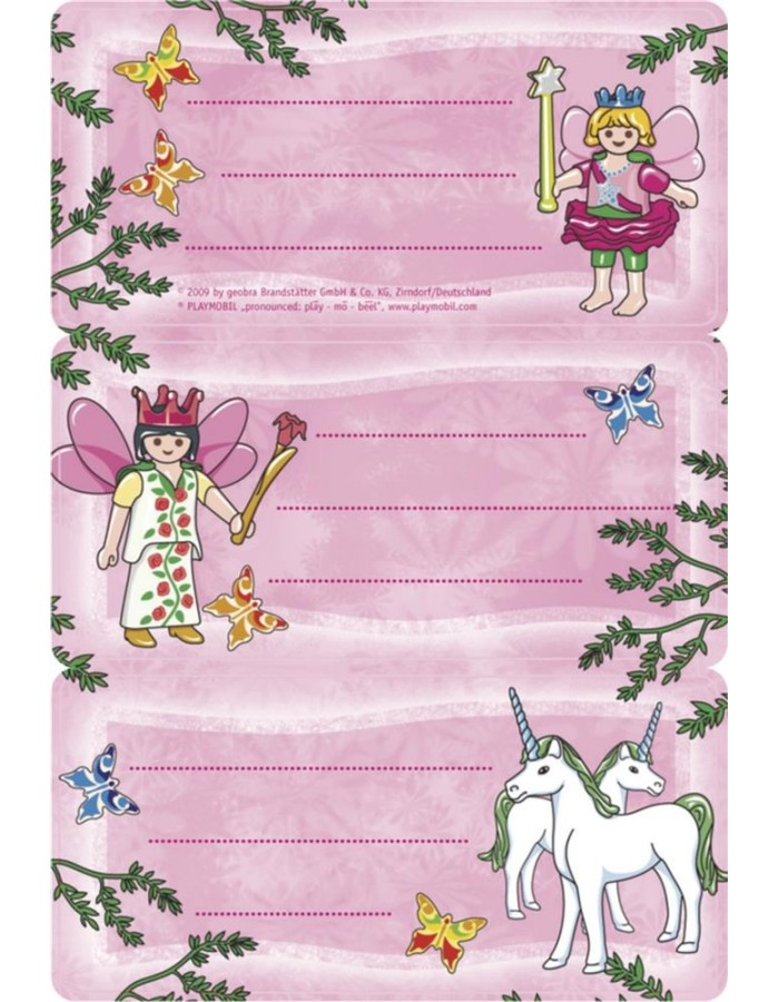 Licence Playmobil fairy 3 labels, 2 sh.