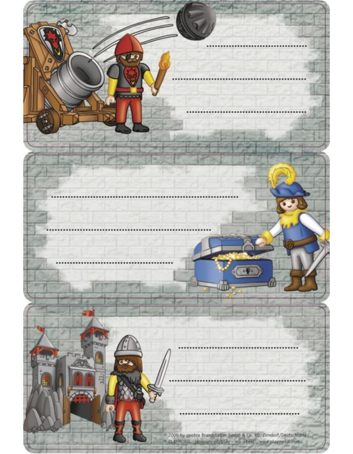 Licence Playmobil knight 3 labels, 2 sh.