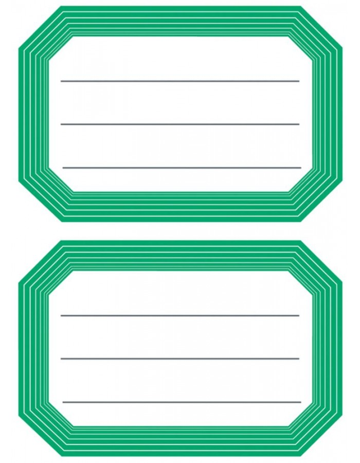 Book labels 82x55mm green frame lined 6 sh.