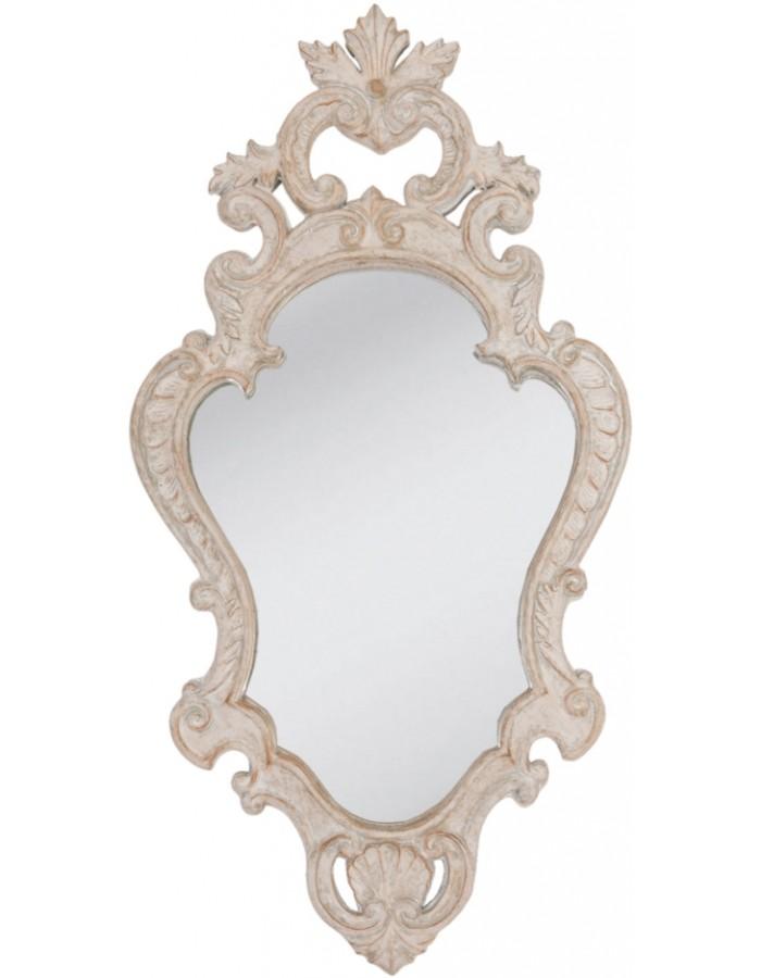 Spiegel Antik Aus Holz Weiß 29x56 Cm