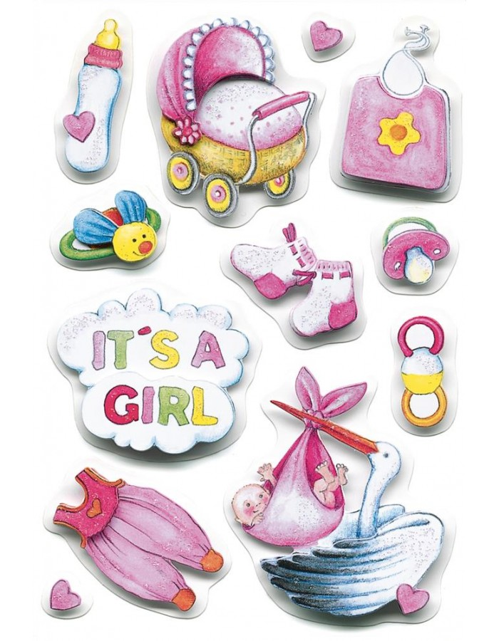 3D-Sticker BABY GIRL - MAGIC, self adhesive