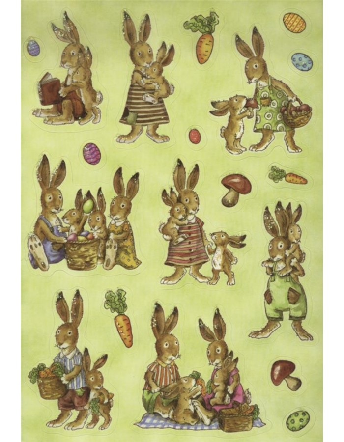 Decorative labels DECOR rabbit family 2 sheets