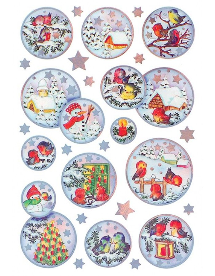 decorative labels DECOR Weihnachtskugeln, silver embossing 2 s