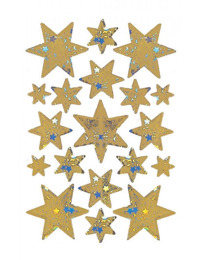 DECOR stickers stars 14mm gold foil 3 sheets