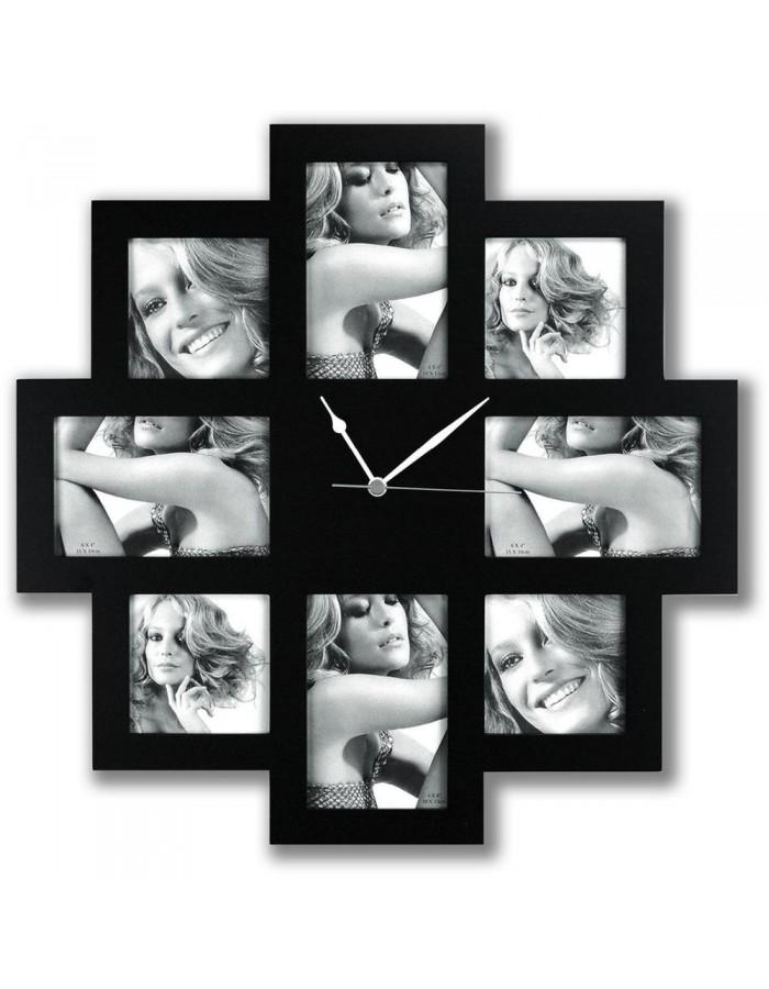 Bilderrahmen mit Uhr für 8 Bilder | fotoalben-discount.de