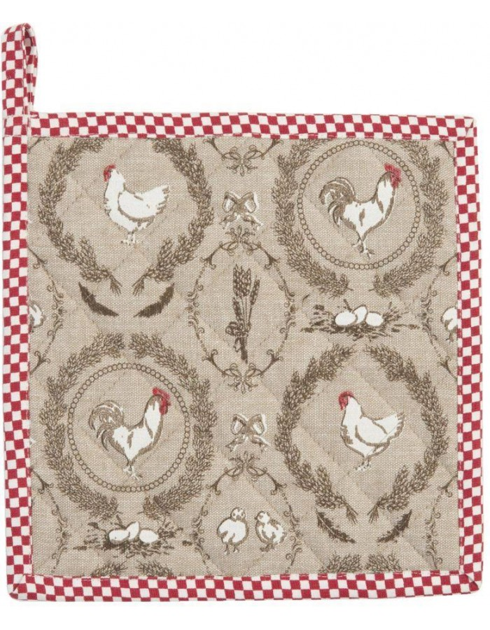 Potholder Rooster and Chicken red