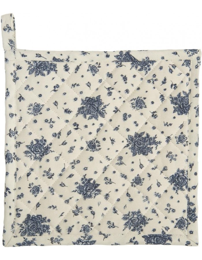 Topflappen blau 20x20 Flower all over