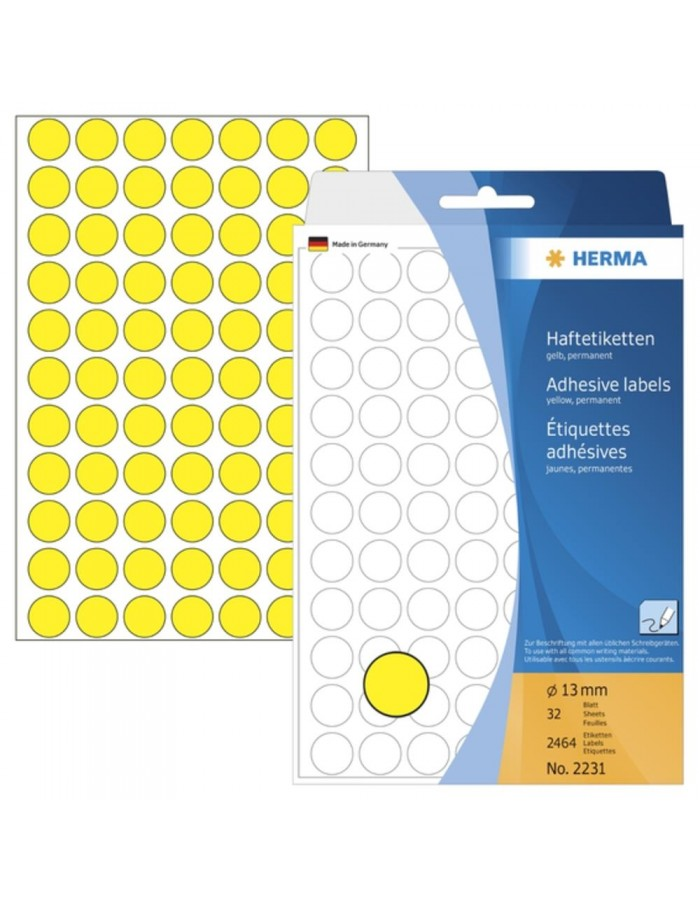Multi-purpose labels ø 13mm yellow 2464 pcs.