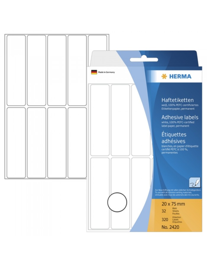Multi-purpose labels 20x75mm white 320 pcs.