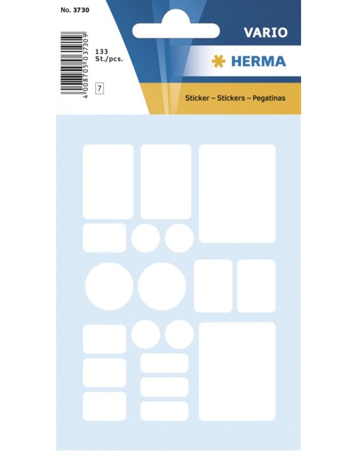 Multi-purpose labels 7 formats assorted white 133 pcs.