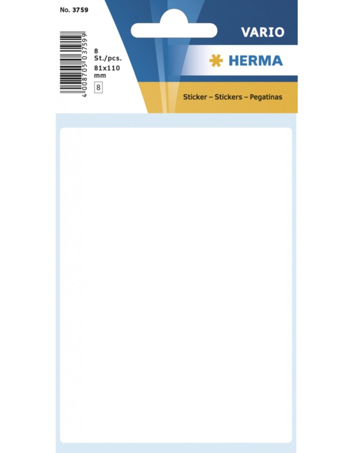 Multi-purpose labels 81x110mm white 8 pcs.