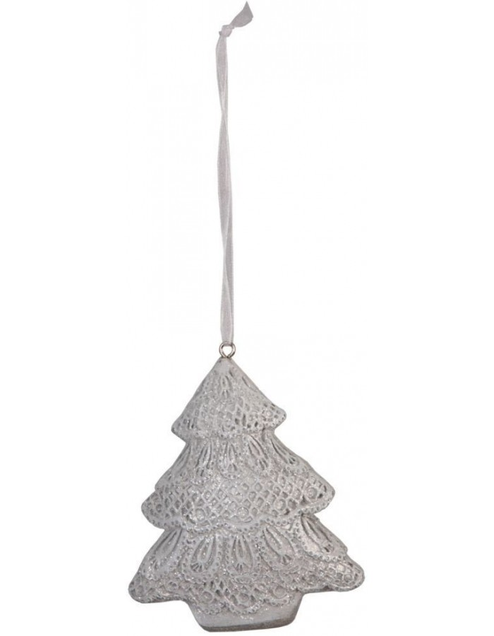 christmas pendant Fir Tree silver