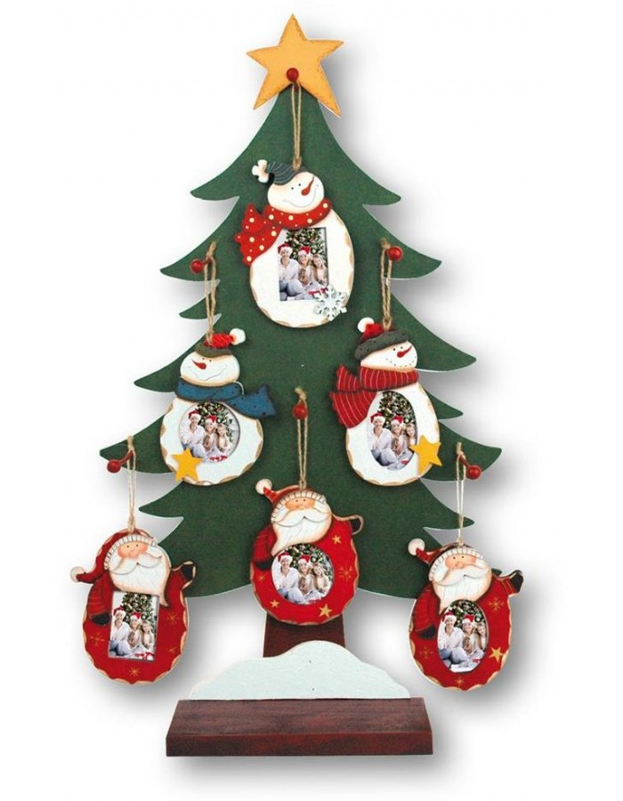 Christmas Tree Ornaments As A Wooden Frame With Santa Claus Theme