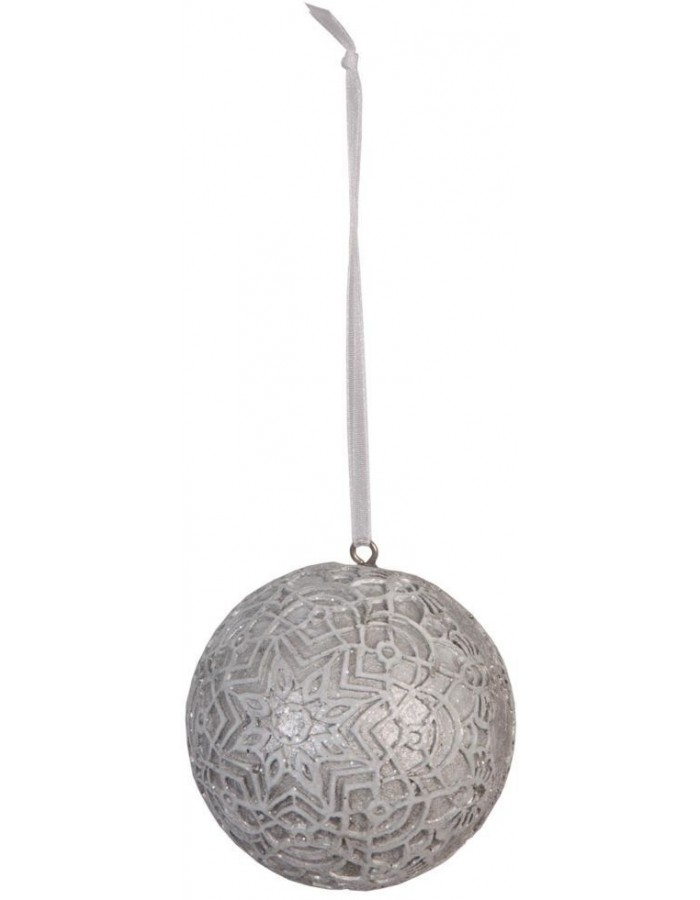 christmas bauble 6 cm silver