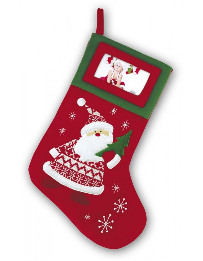 Tt72 Zep Christmas Stocking For Decorating With Photo Frame