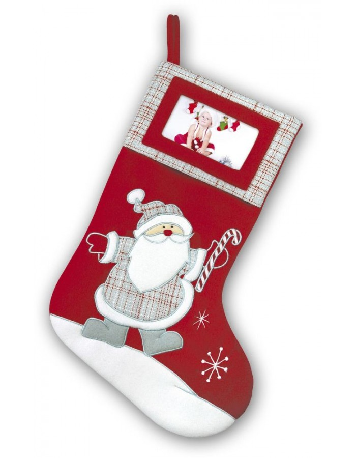 Christmas Stocking Made Of Fabric With Space For A Picture Tt69 Zep