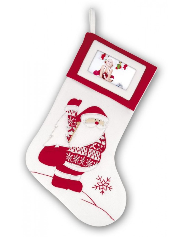 White Christmas Sock With Santa Height 45 Cm