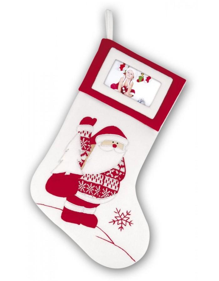 weiße Weihnachtssocke mit Weihnachtsmann Höhe 45 cm
