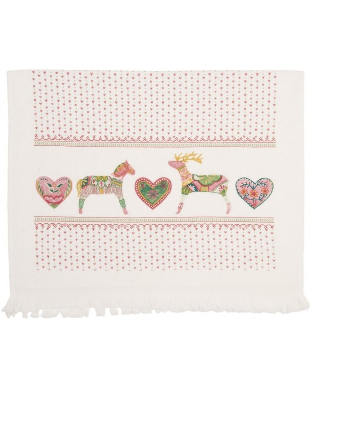 X-MAS Guest Towel heart and reindeer 40x60 cm