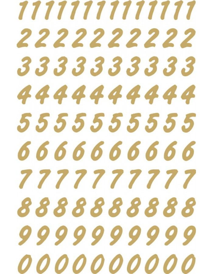 Numbers 8mm 0-9 weatherproof film transparent gold 2 sheets