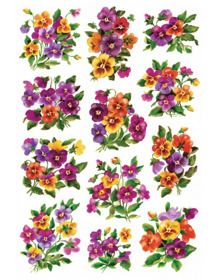 Stickers Colourful Pansies DECOR, self adhesive