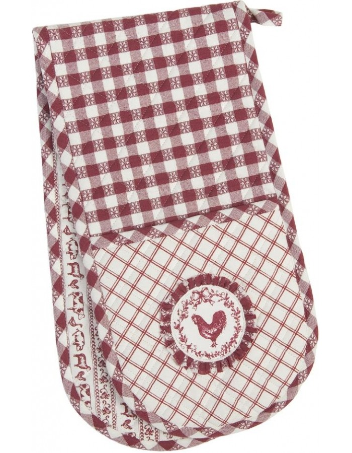 Double Oven Glove Farm 20x80 cm red