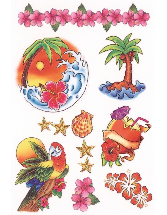 farbenfrohe, beglimmerte Tatoos mit Hawai-Motiven aus der Serie Coulour Art