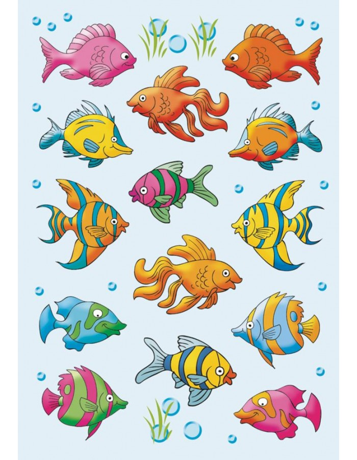 Colourful stickers Tropical Fish - self adhesive, DECOR