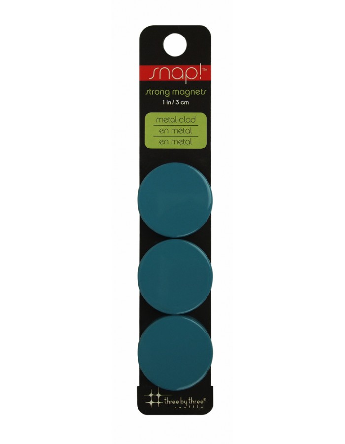 Sky blue magnets SNAP COLOR 3 cm in 3-pack