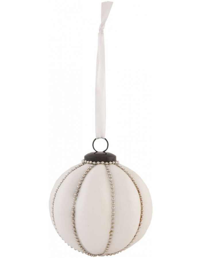 christmas bauble 8x8 cm white