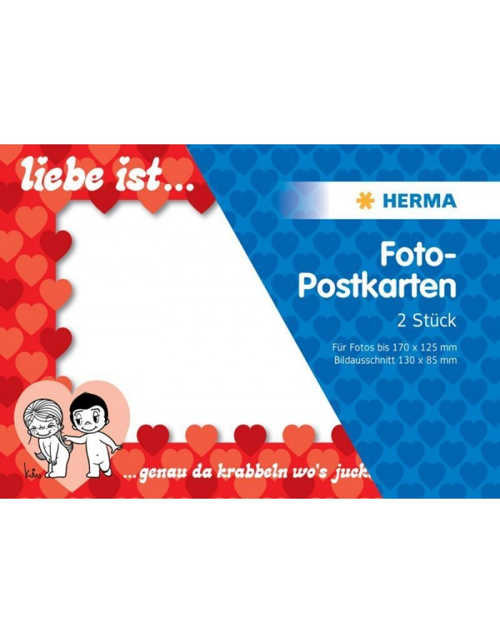 Liebe ist ... Photo post card - 2 pcs., red